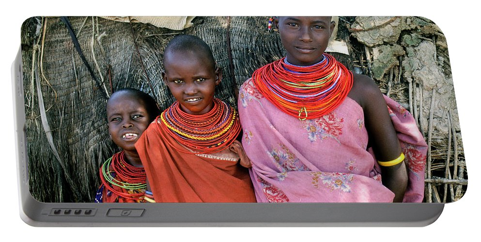 Africa Portable Battery Charger featuring the photograph Samburu Sisters by Michele Burgess