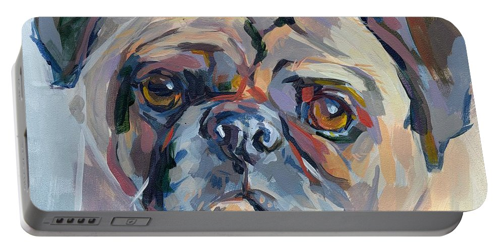 Pug Portable Battery Charger featuring the painting Sammy Sumner by Kimberly Santini