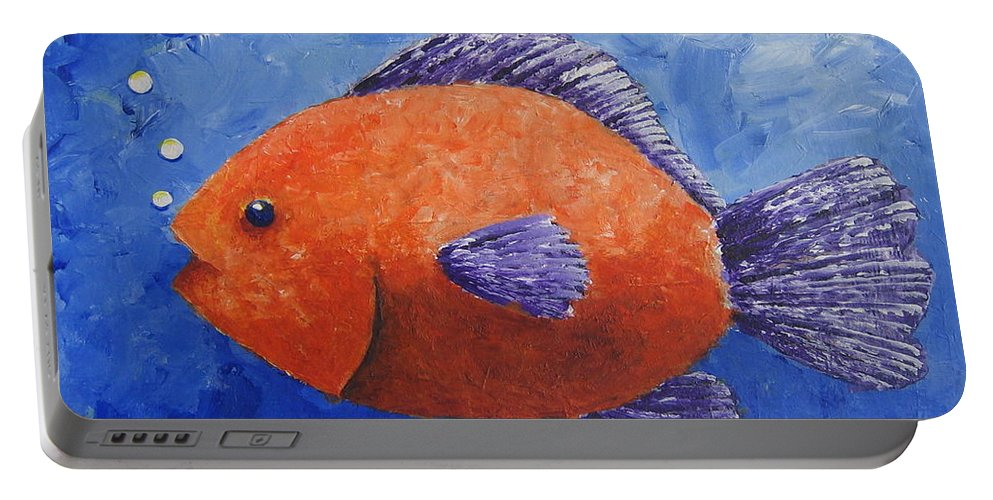 Fish Portable Battery Charger featuring the painting Sammy by Suzanne Theis