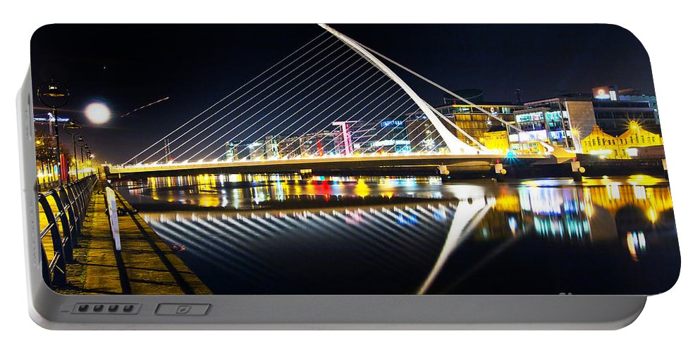 Samuel Beckett Bridge Portable Battery Charger featuring the photograph Samuel Beckett Bridge 3 by Alex Art and Photo