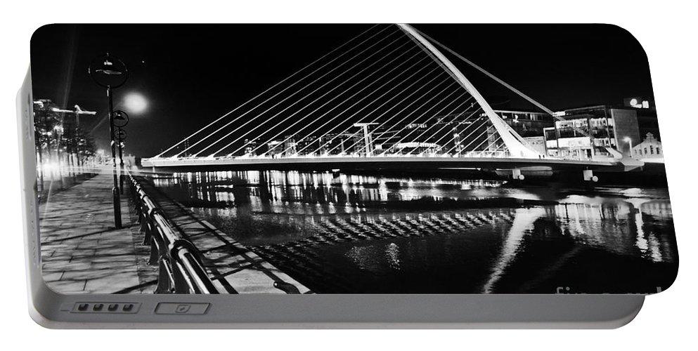 Samuel Beckett Bridge Portable Battery Charger featuring the photograph Samuel Beckett Bridge 5 Bw by Alex Art and Photo