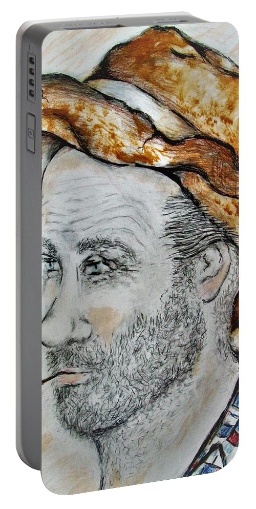 Male Man Farmer Hat Brown Checkered Shirt Blue Red Portable Battery Charger featuring the painting Samuel by Liz Lafalce