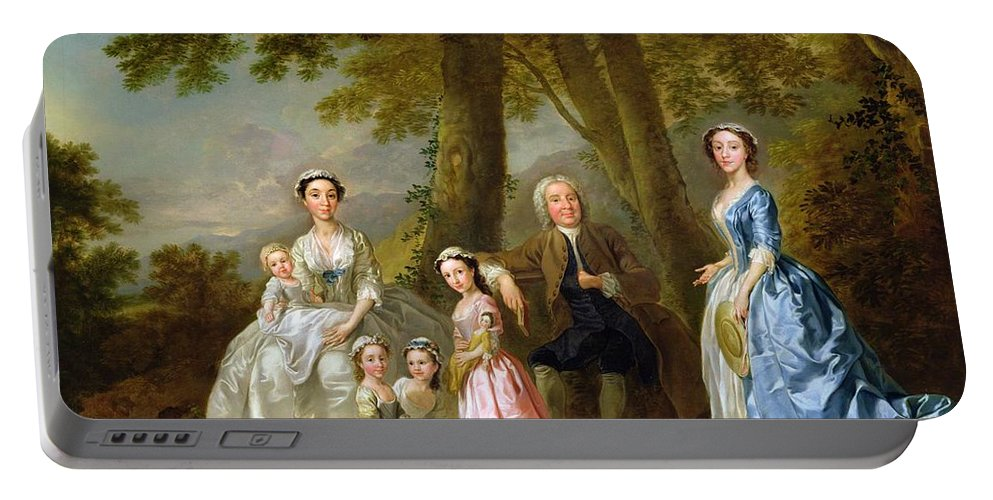 Samuel Portable Battery Charger featuring the painting Samuel Richardson Seated With His Family by Francis Hayman