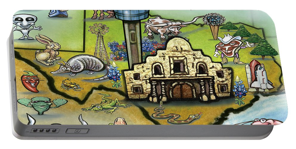 San Antonio Portable Battery Charger featuring the digital art San Antonio Texas by Kevin Middleton
