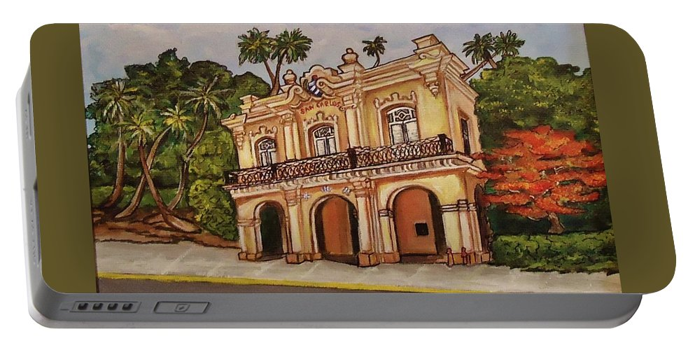 Florida Keys Portable Battery Charger featuring the painting San Carlos Institute by Lois Rivera