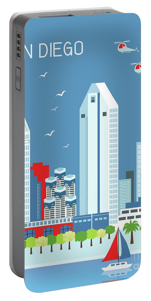 San Diego Portable Battery Charger featuring the digital art San Diego California Vertical Skyline by Karen Young