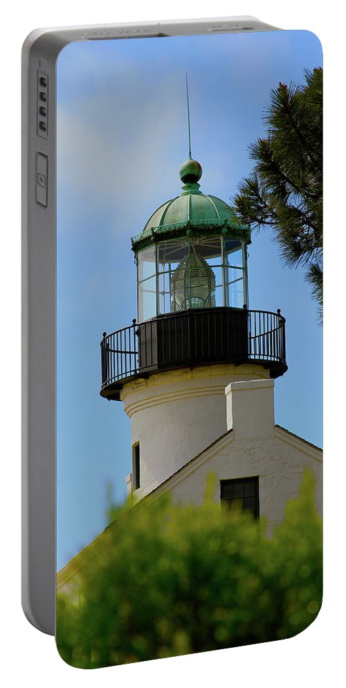 Lighthouse Portable Battery Charger featuring the photograph San Diego Skies by Laddie Halupa
