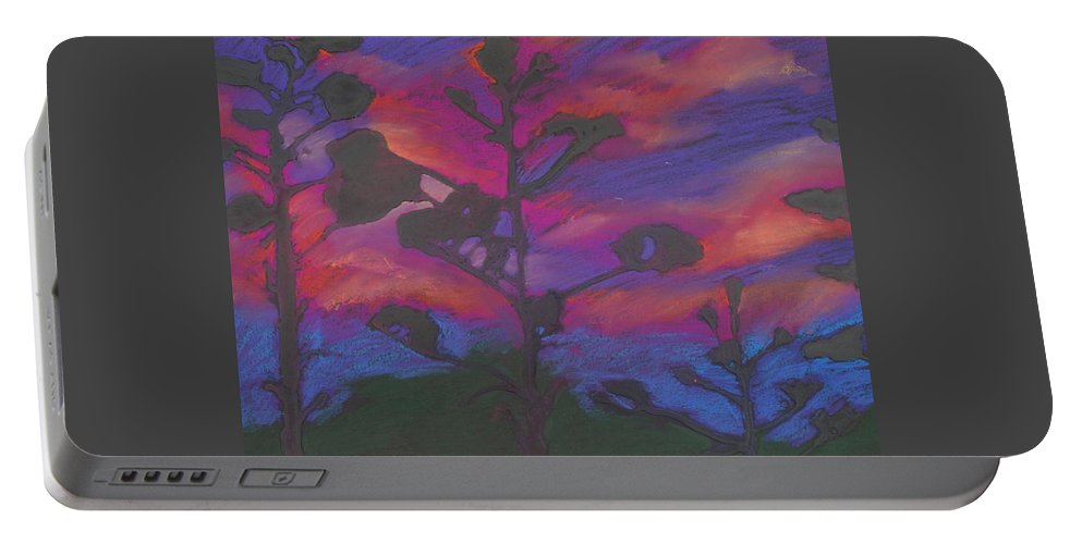 Contemporary Tree Landscape Portable Battery Charger featuring the mixed media San Diego Sunset by Leah Tomaino