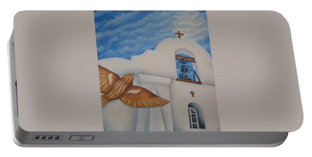 Sparrow Portable Battery Charger featuring the painting San Elizario On A Moonlit Morning by Jeniffer Stapher-Thomas