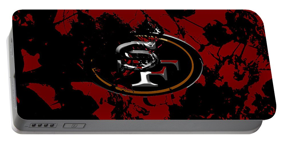 San Francisco 49ers Portable Battery Charger featuring the mixed media San Francisco 49ers 1b by Brian Reaves