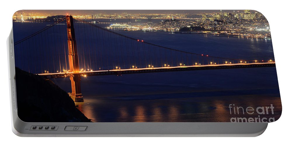 San Francisco Portable Battery Charger featuring the photograph San Francisco At Night by Bob Christopher