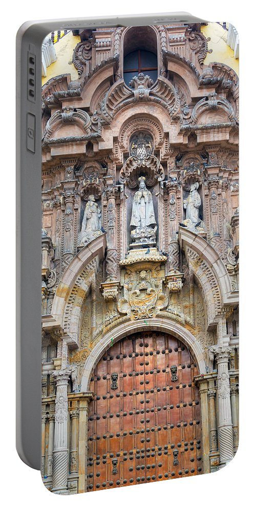 Lima Portable Battery Charger featuring the photograph San Francisco Convent Facade by Jess Kraft