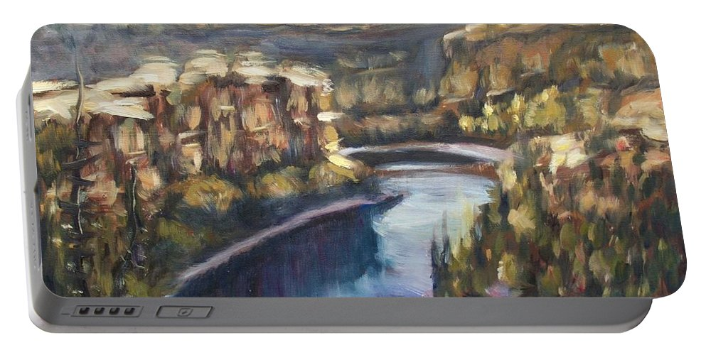 Canyon Portable Battery Charger featuring the painting San Frutos Canyon by Elena Sokolova
