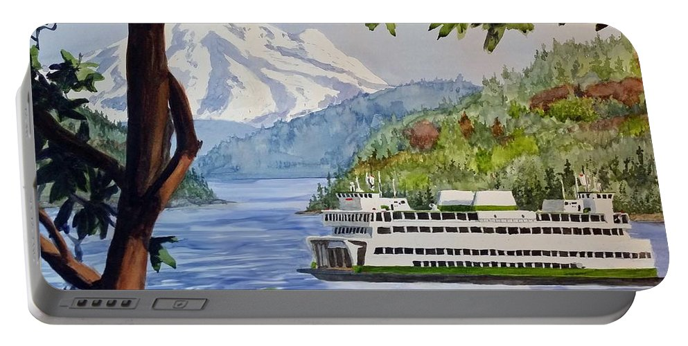 Landscape Portable Battery Charger featuring the painting San Juan Ferry by Aaron Beaty