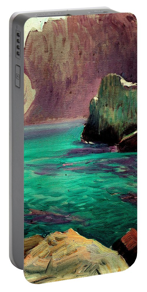 San Vicente Portable Battery Charger featuring the painting San Vicente Cove Mallorca by Joaquin Sorolla