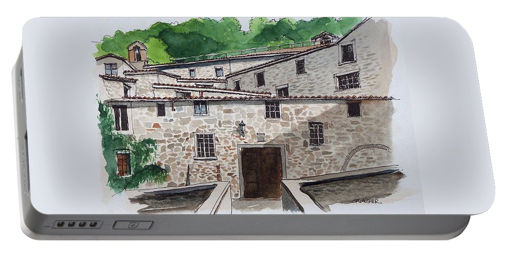 Tuscany Portable Battery Charger featuring the painting Sanctuary Of St. Francis by John Crowther