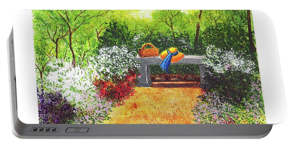 Garden Painting Portable Battery Charger featuring the painting Sanctuary by Patricia Griffin Brett