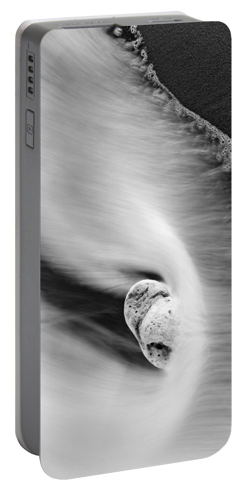 Rock Portable Battery Charger featuring the photograph Sand And Sea by Mike Dawson