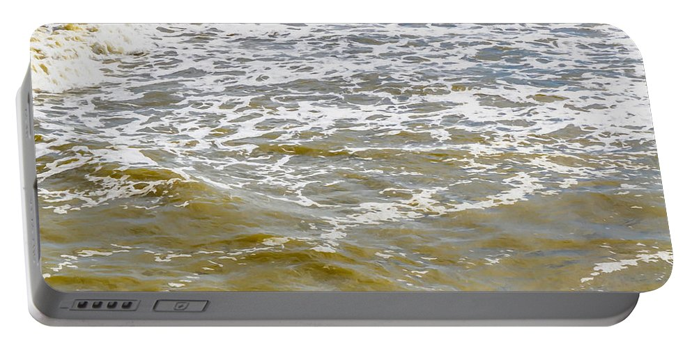 Sand Beach And Wave Portable Battery Charger featuring the painting Sand Beach And Wave 4 by Jeelan Clark