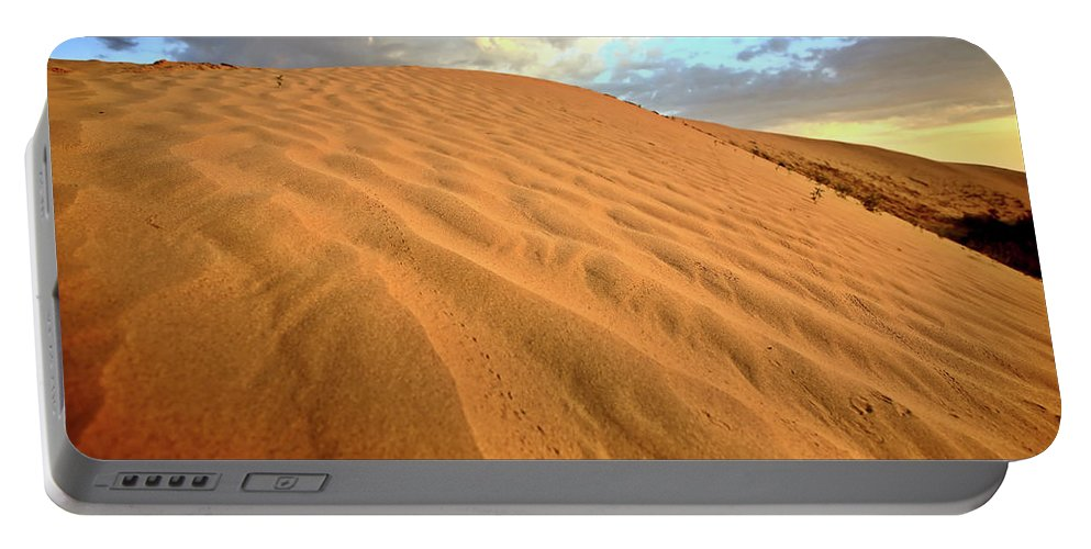 Sand Dune Portable Battery Charger featuring the digital art Sand Dune At Great Sand Hills In Scenic Saskatchewan by Mark Duffy