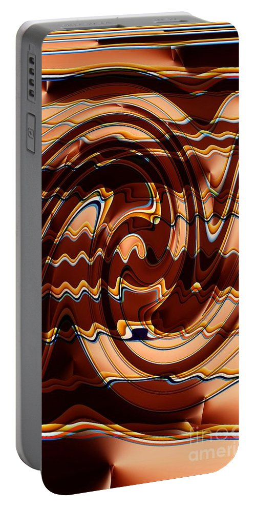 Abstract Portable Battery Charger featuring the digital art Sand Painting by Ron Bissett