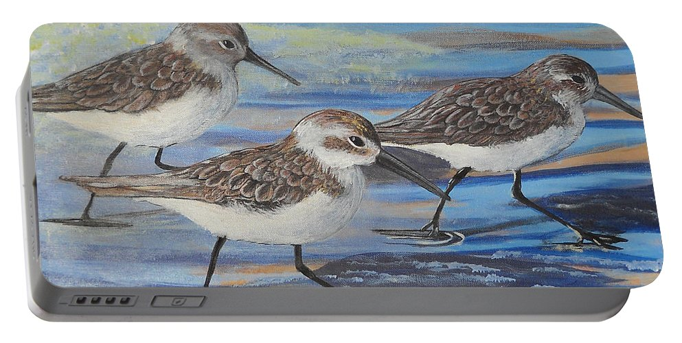 Pelican Portable Battery Charger featuring the painting Sand Pipers by Edward Walsh