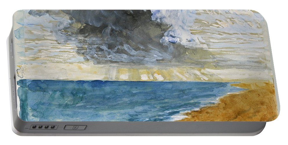John Ruskin Portable Battery Charger featuring the drawing Sandgate Beach. Kent by John Ruskin