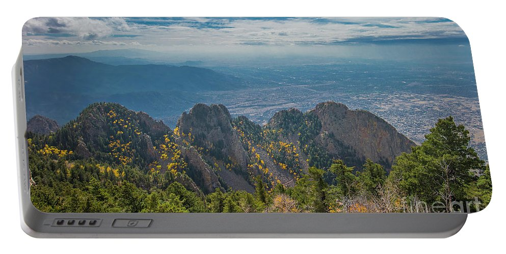 Albuquerque Portable Battery Charger featuring the photograph Sandia Crest In Fall by Jennifer Sensiba