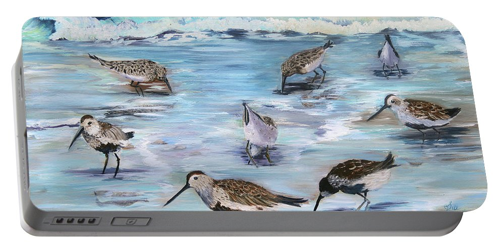 Beach Art Portable Battery Charger featuring the painting Sandpiper Party by Sue Appleton Dayton