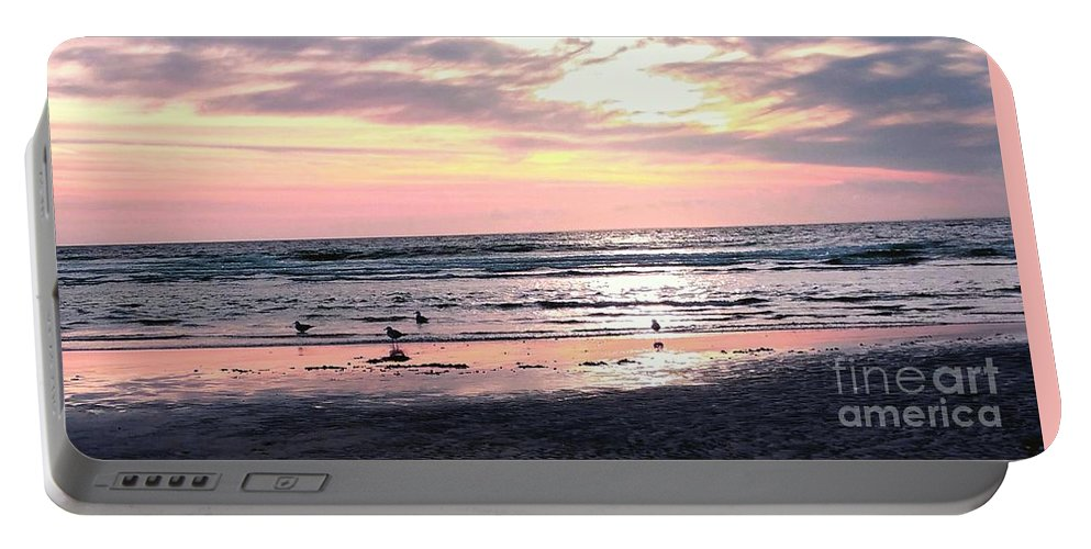 Sandpipers Portable Battery Charger featuring the photograph Sandpipers At Old Silver by Christine Chepeleff