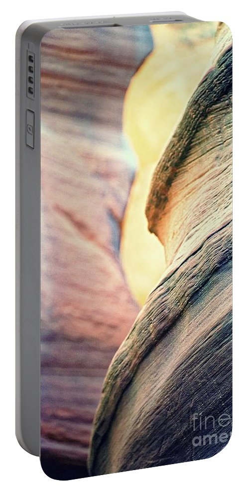 Abstract Portable Battery Charger featuring the photograph Sandstone Curve. by Michael Farndell