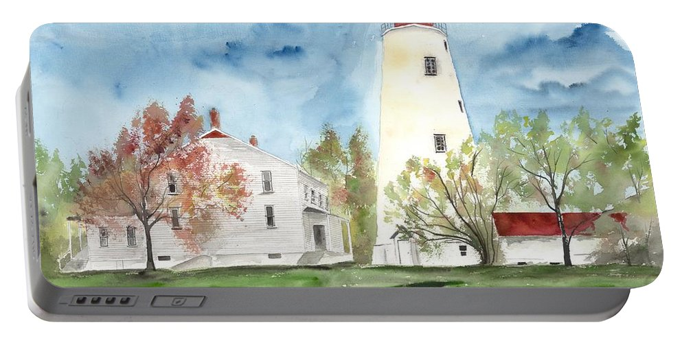 Watercolor Portable Battery Charger featuring the painting Sandy Hook Lighthouse by Derek Mccrea