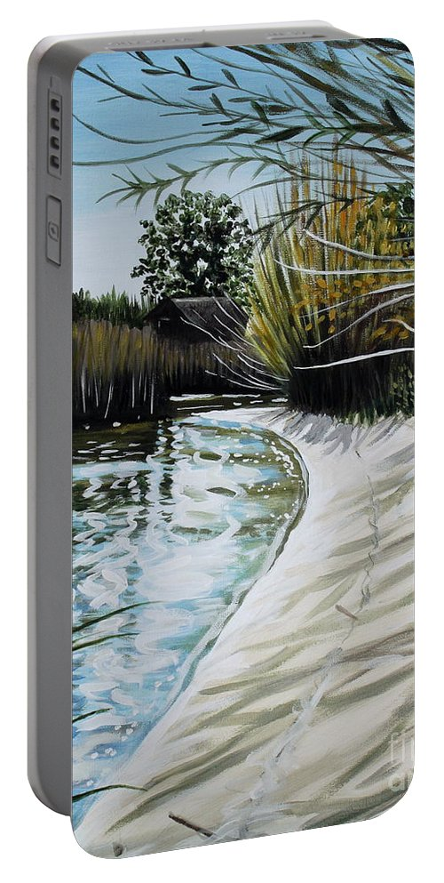 Landscape Portable Battery Charger featuring the painting Sandy Reeds by Elizabeth Robinette Tyndall