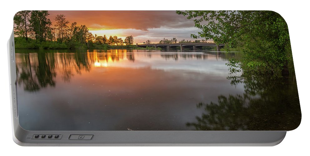 Sunset Portable Battery Charger featuring the photograph Sandy River Sunset by Daniel Gomez