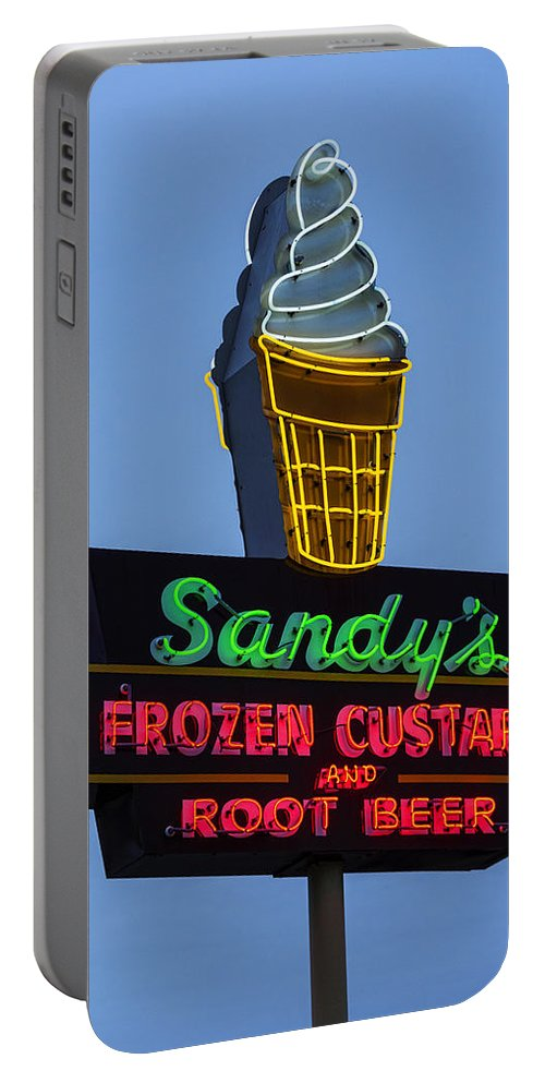 Austin Portable Battery Charger featuring the photograph Sandys Frozen Custard - Austin by Stephen Stookey