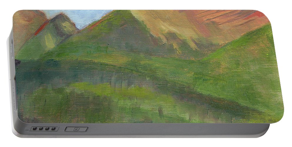 Colorado Portable Battery Charger featuring the painting Sangres II by Lilibeth Andre