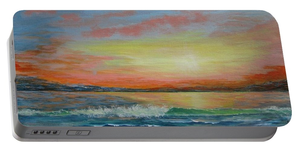Seascape Portable Battery Charger featuring the painting Sangria Beach by Robert Clark