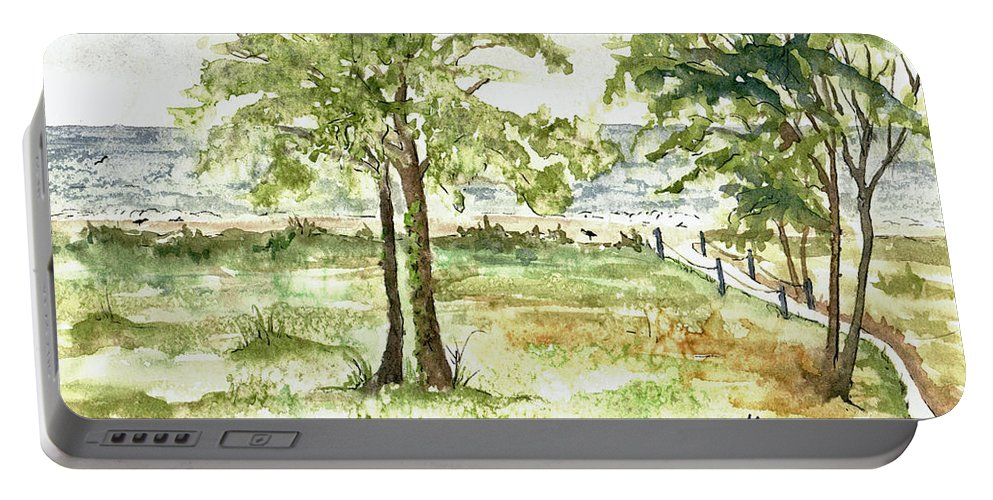 Sanibel Island Portable Battery Charger featuring the painting Sanibel Shores Sketch by Mary Tuomi