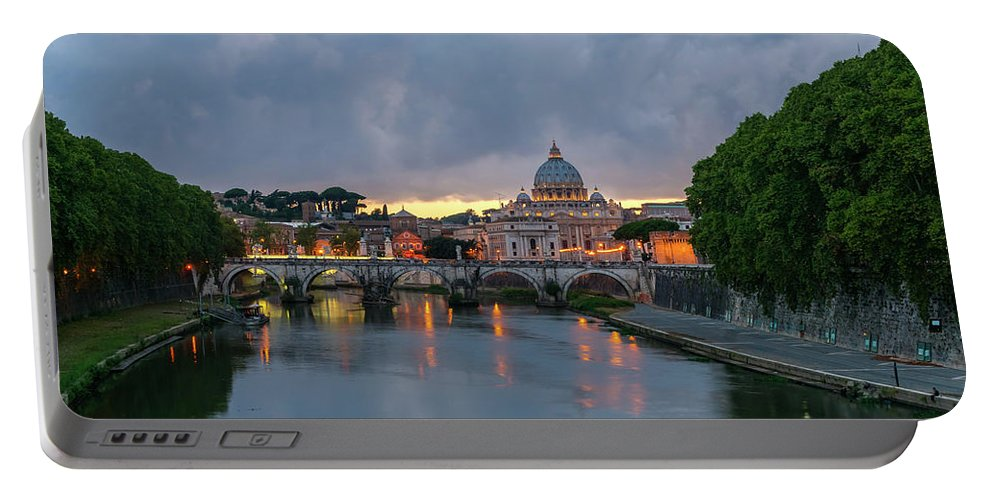 Sant'angelo Portable Battery Charger featuring the photograph Sant Angelo Bridge At Dusk by Jebulon