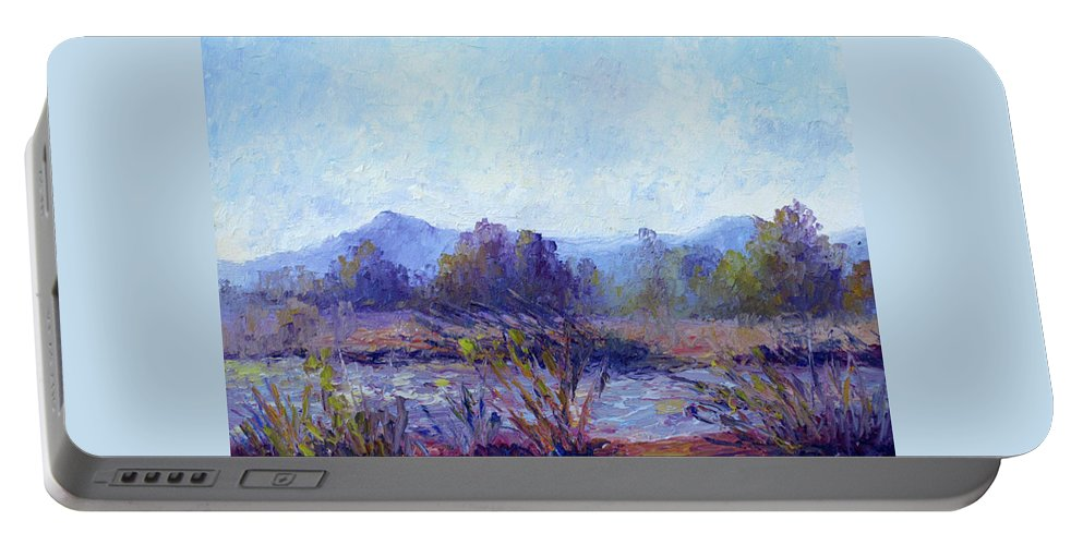 Art Portable Battery Charger featuring the painting Santa Ana River by Terry Chacon