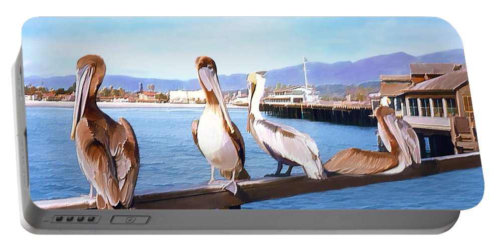 Harbor Portable Battery Charger featuring the photograph Santa Barbara Pelicans by Kurt Van Wagner