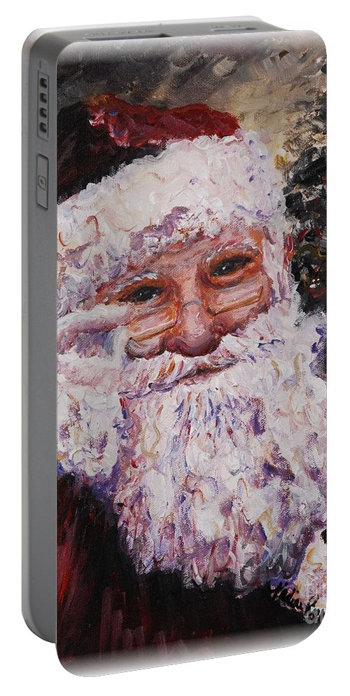 Santa Portable Battery Charger featuring the painting Santa Chat by Nadine Rippelmeyer