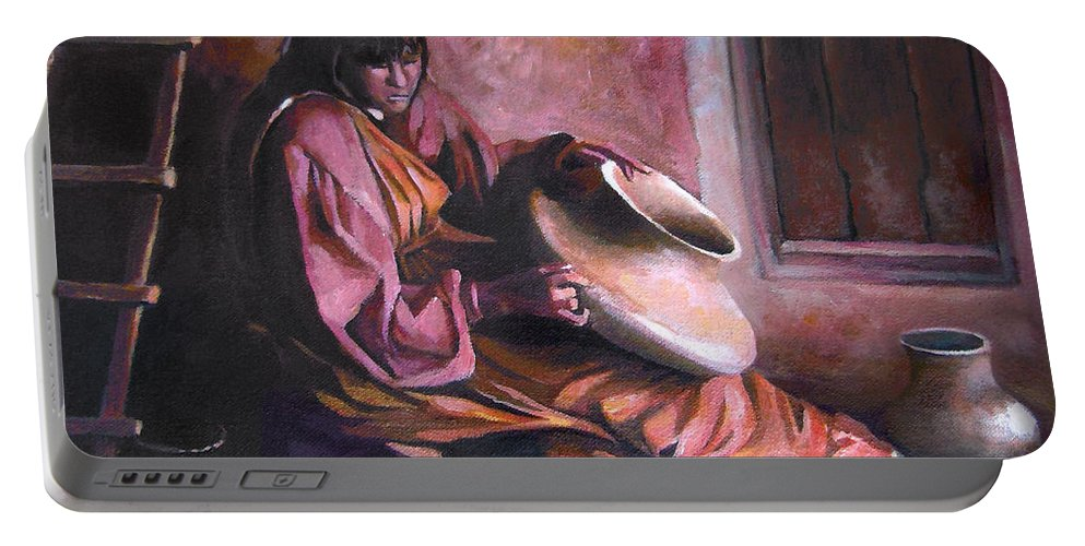 Native American Portable Battery Charger featuring the painting Santa Clara Potter by Nancy Griswold
