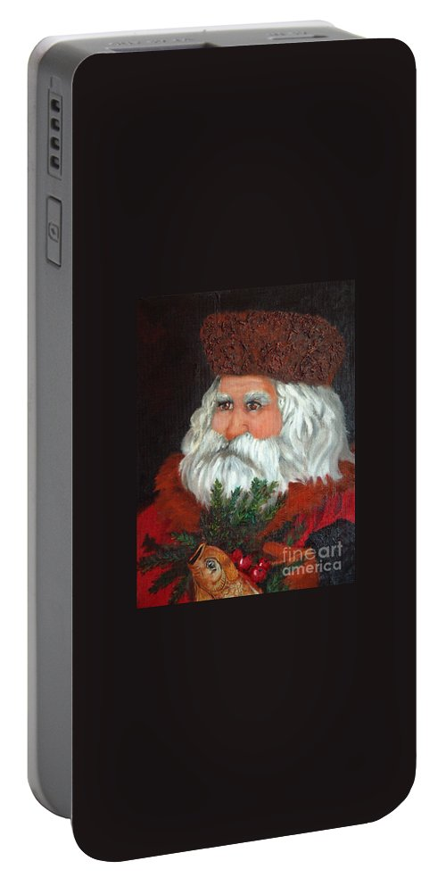 Santa Portable Battery Charger featuring the painting Santa by Portraits By NC