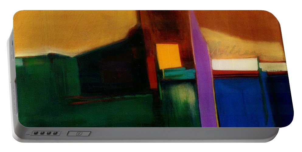 Abstract Portable Battery Charger featuring the painting Santa Fe 1 Break Loose by Marlene Burns