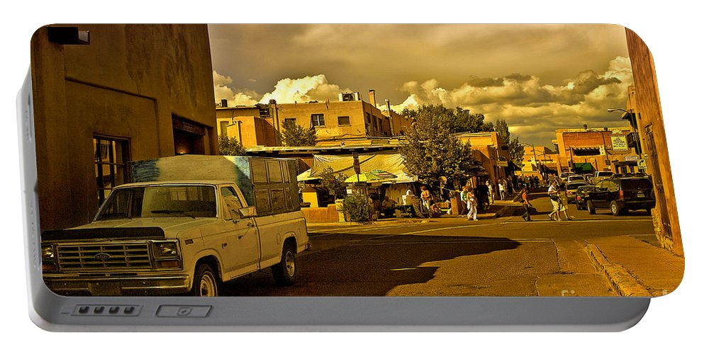 Santa Fe Portable Battery Charger featuring the photograph Santa Fe Plaza by Madeline Ellis