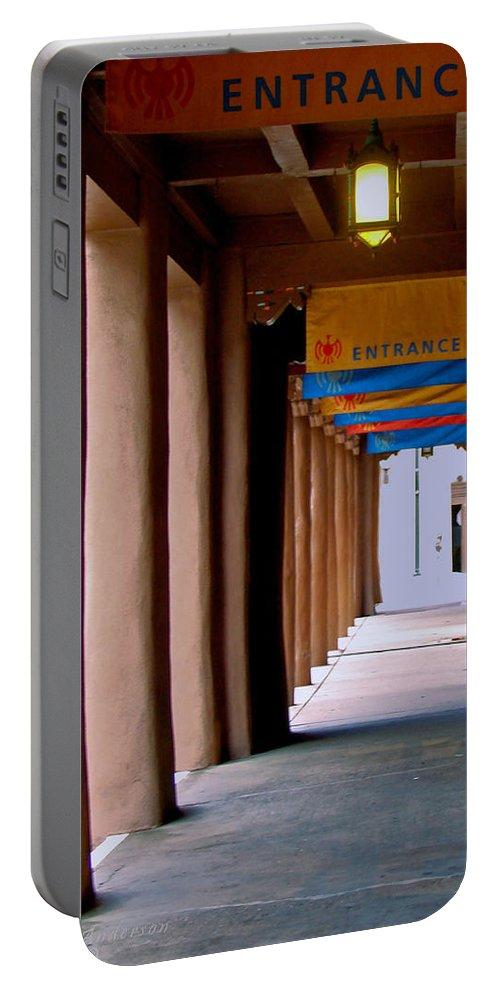 Santa Fe Portable Battery Charger featuring the photograph Santa Fe Sidewalk by Terry Anderson