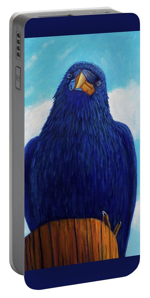 Raven Portable Battery Charger featuring the painting Santa Fe Smile by Brian Commerford