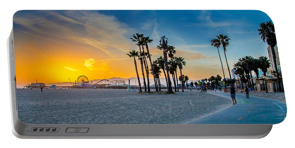 Santa Monica Sunset Portable Battery Charger featuring the photograph Santa Monica Sunset by Az Jackson