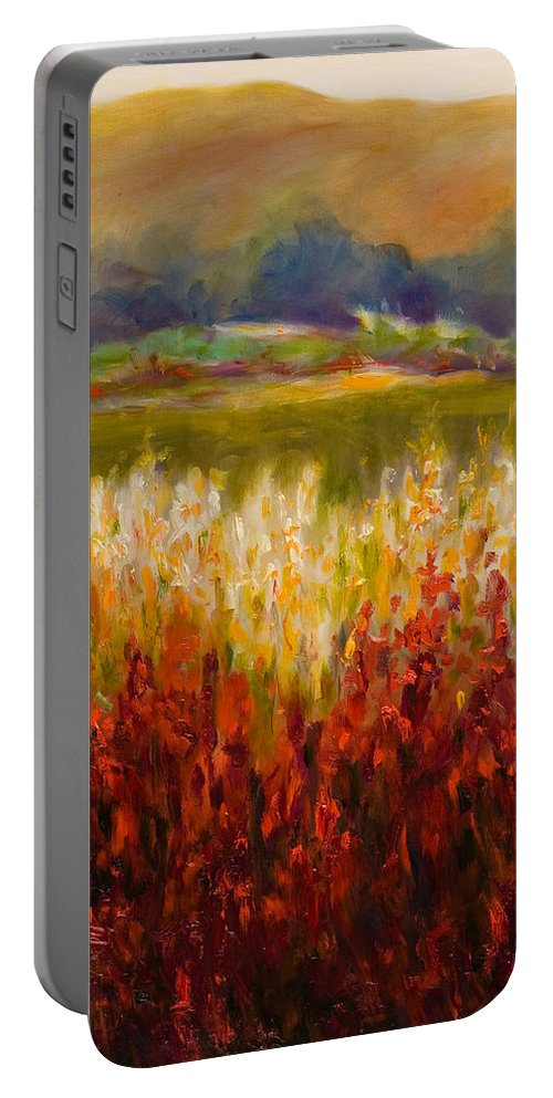 Landscape Portable Battery Charger featuring the painting Santa Rosa Valley by Shannon Grissom